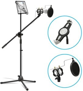 Anko 2-in-1 Adjustable Mic Stand with iPad Holder Pop Filter